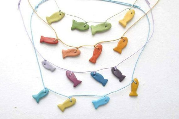 Fish necklace,Ceramic fish,Colorful necklace,Ceramic necklace,Greek art,Handpainted jewelry,Necklace gift,Gift for bestfriend,White clay