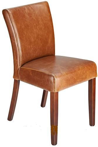 Charro Tan Aniline Real Leather Dining Chair Padded Seat Walnut Legs - Fully Assembled
