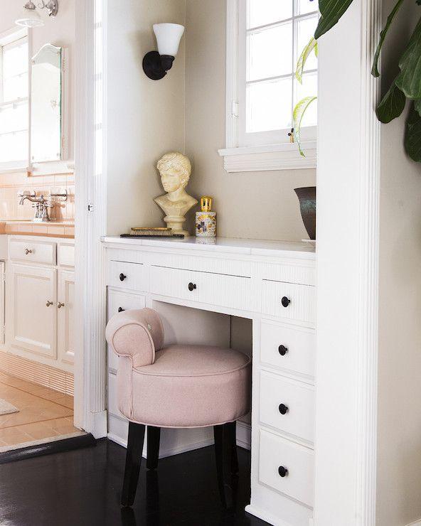 Lonny Magazine - bathrooms - black hardwood floors, black wood floors, dressing table, dressing table niche, built-in dressing table <3