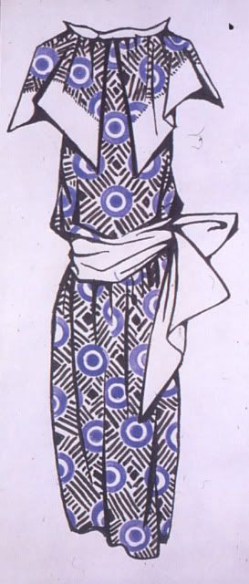 Dress design, 1923-24, Liubov Popova.  ink and watercolour on paper