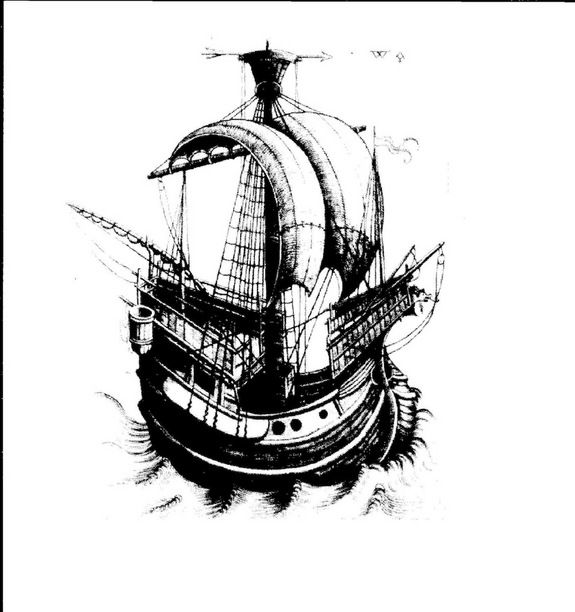 The Gribshunden was the flagship in the Danish King Hans' fleet. In 1495, the king was making his way to Kalmar in what is now Sweden, when he briefly left the ship to conduct business at the port at Ronneby. While he was away, the ship burst into flames and sank, with many killed. Here, an image of a ship that dates to roughly the same time period, which was taken from a church in the region. (Photo credit: Foto Ingemar Lundgren, Ocean Discovery) drawing of the Gribshunden