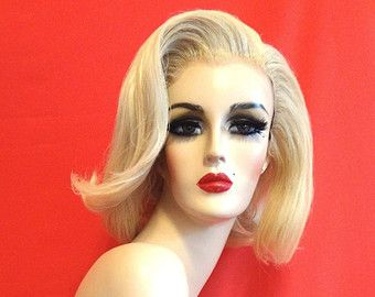 MARILYN MONROE WIG! Custom Lace Front Professional Costume Wig- Drag Queen, Celebrity Impersonator, Burlesque, Pinup 1950's Platinum Blonde