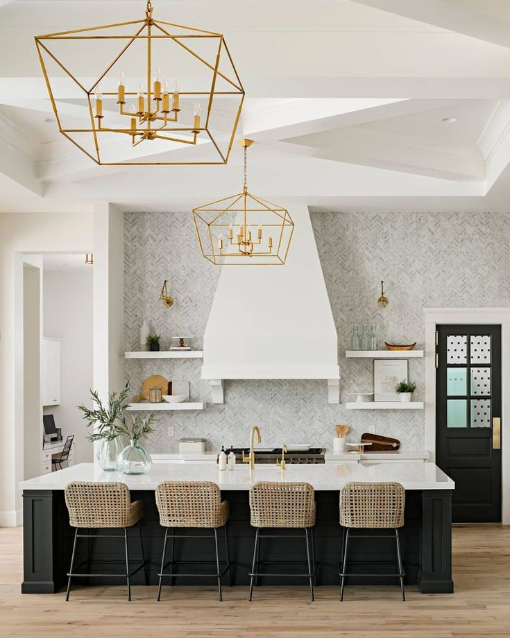 White Kitchen, Wood Shelves, Maybe black or other color on island?