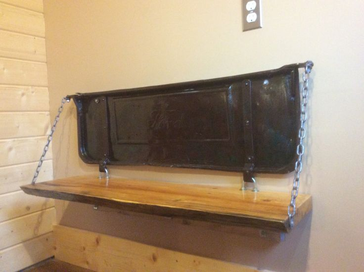 Tailgate Bench - live edge seat with a 1928 Ford Model A pick-up truck.