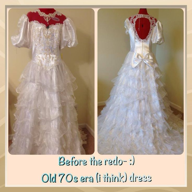 "I upcycled this wedding dress.. Look next for the ""AFTER"" the redo pictures!!! :) For sale now! I believe this is a size 10..."