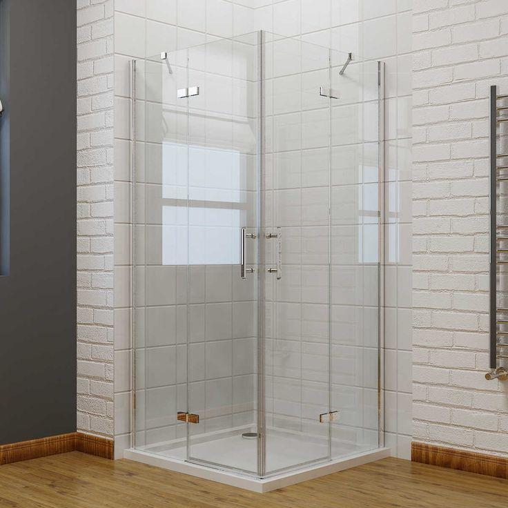 ELEGANT 900 x 800 mm Frameless Pivot - 6mm - Corner Entry Shower Enclosure Set