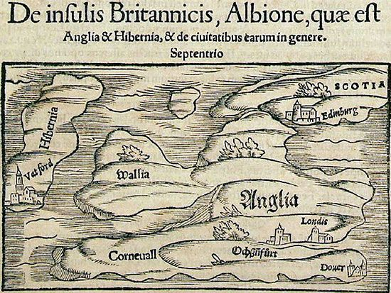 Figure 1. Map of the British Isles published by Sebastian M�ster in 1550 showing the five countries of the area: Anglia, Scotia, Wallia, Hibernia and Corneuall.