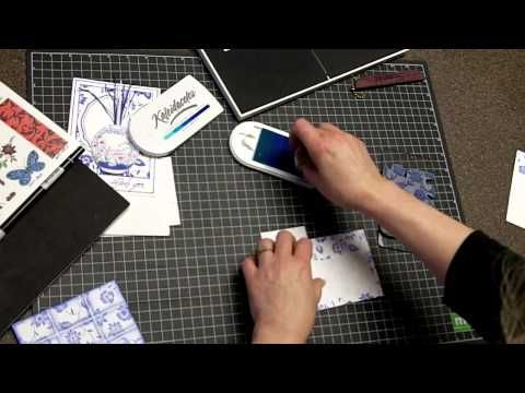video ... cardmaking tutorial: Delft Tile Background - YouTube ... gorgeous  card ... great results ....