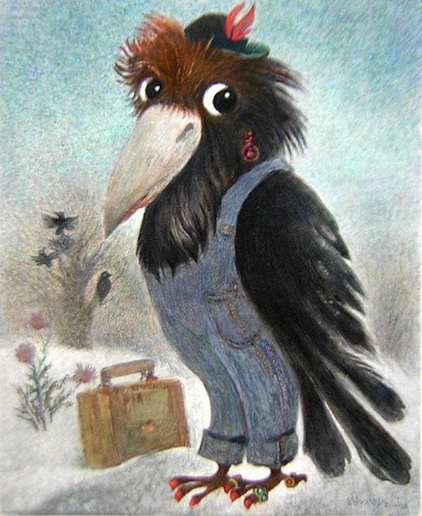 Ворона на открытках