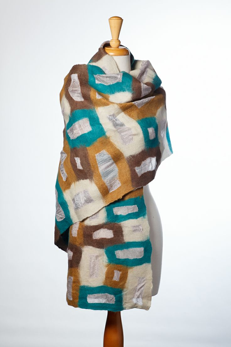 wool blocks with silk windows scarf handmade in Kyrgyzstan by Aidai Asangulova http://www.aidai-design.com/scarves photo by David J Swift