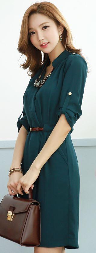 StyleOnme_Mandarin V-Neck Collar Belted Dress #fall #fashion #trend…
