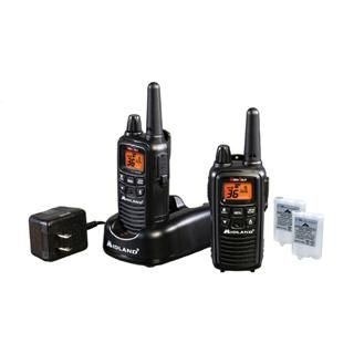FRS/GMRS 36Ch/30mile Batt/Chrgr Blk  There are 22 channels (with 14 additional) and a 26 mile range with little obstructions. Selectable hi/lo power settings provide additional range and conserves battery power. NOAA local weather alerts keeps you abreast of weather conditions and there are 5 call alerts available. The radios include rechargeable battery packs but may also be powered with AAA alkaline batteries. A desktop charger and AC adapter are also included.