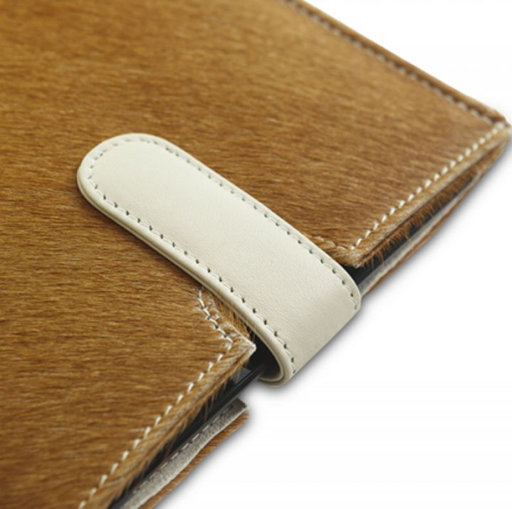 Hair-on leather slip cover for iPad mini. Price: $70-80. More information: www.dbramante1928.com