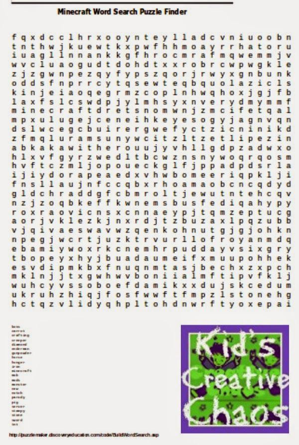 Minecraft Free Printables: Word Search Finder.  #MostRepinned #KCC