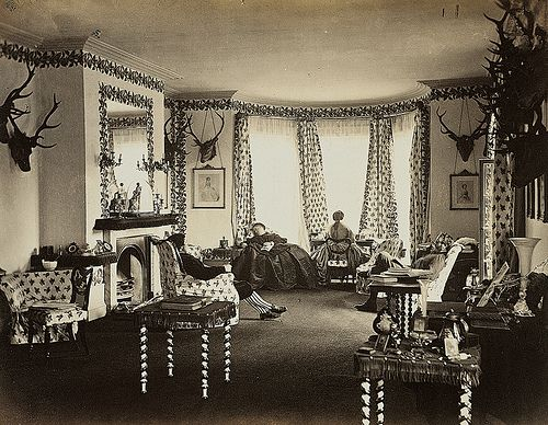 Old pic of the Drawing Room, Mar Lodge, Braemar, Scotland