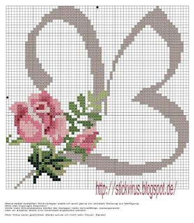alphabet - b - rose - point de croix - cross stitch - Blog : http://broderiemimie44.canalblog.com/
