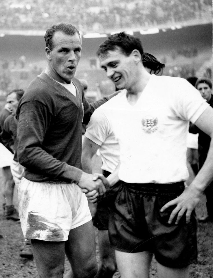 John Charles (Wales, 1950–1965, 38 caps, 15 goals) and Bobby Robson (England, 1957–1962, 20 apps, 4 goals), 1960.