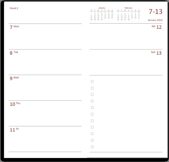 Planner Calendar Notebook Free Download : Midori compatible diary to download and print