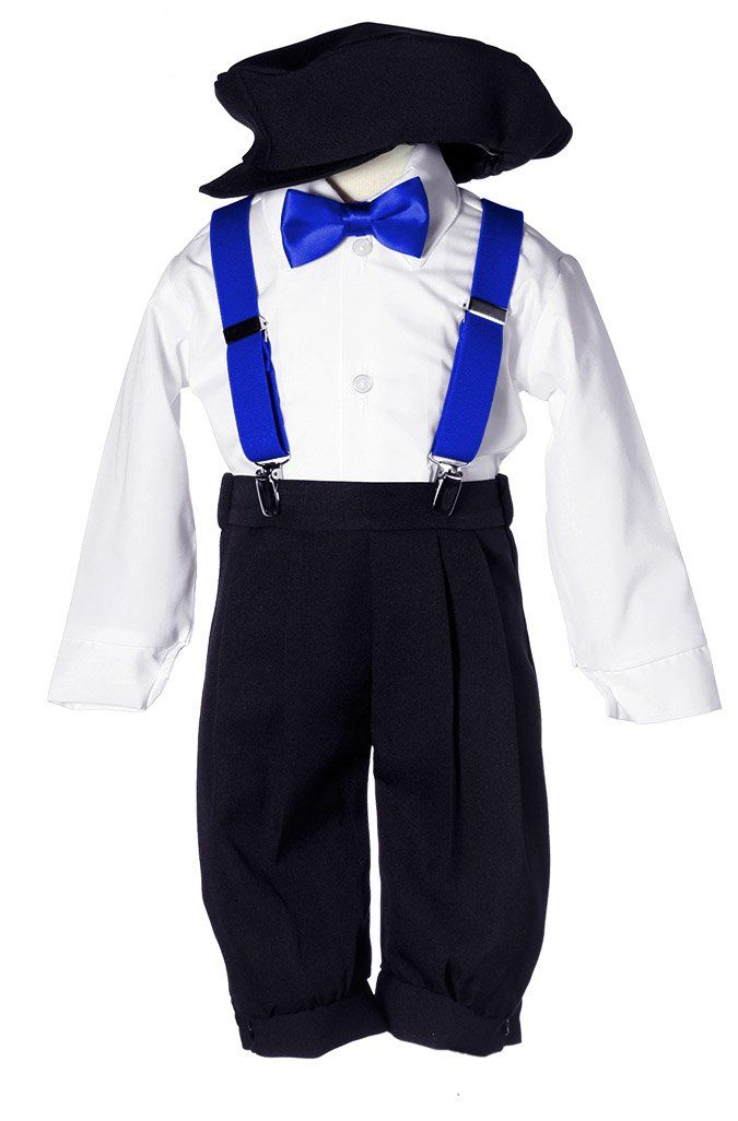 Toddler Boys Black Knicker Set With Royal Blue Suspenders