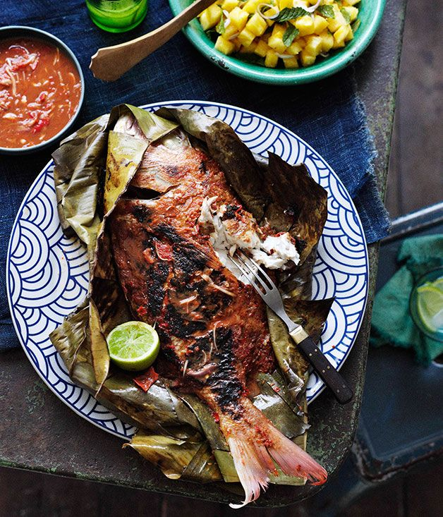 Australian Gourmet Traveller recipe for Barbecued snapper in banana leaves with sambal belacan
