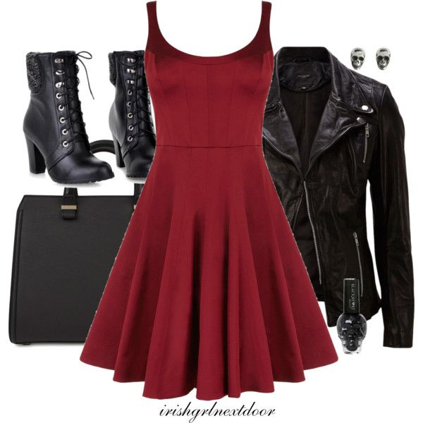 """Hardcore"" by irishgrlnextdoor on Polyvore punk rocker outfit. Leather and skulls!:"