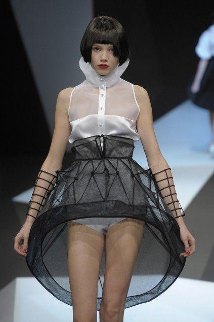Sculptural Fashion - sheer 3D hoop skirt - dimensional geometric fashion; wearable art // Lie Sang Bong