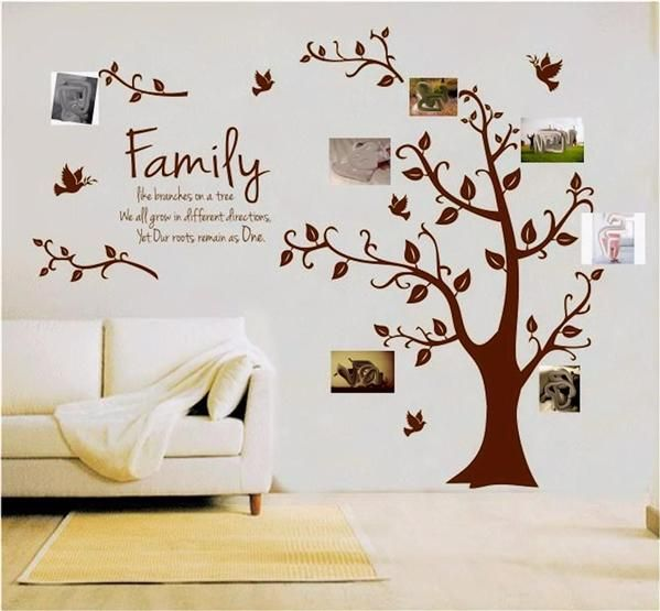family tree mural decal | Family Tree Wall Sticker Quote Roots Birds Mural  Art Decal Vinyl