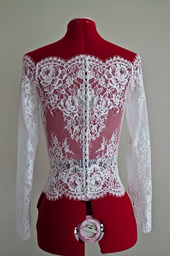 Wedding Lace Bolero Scalloped Neckline Bolero by PolinaIvanova
