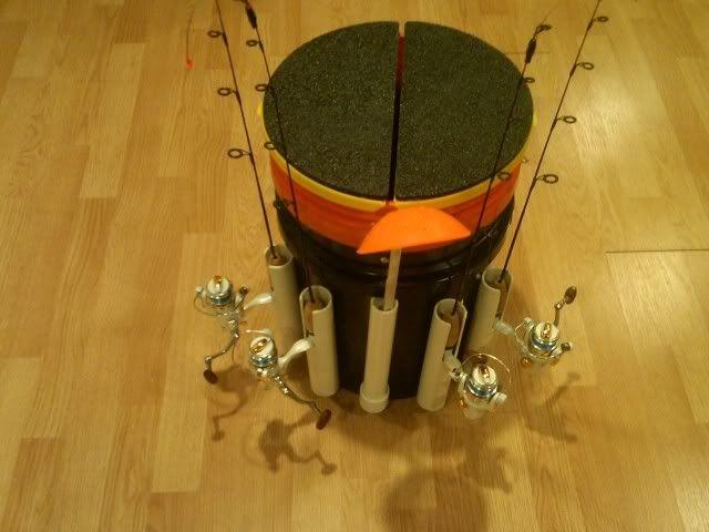 How To Make Bucket Rod Holder Ice Fishing Pinterest