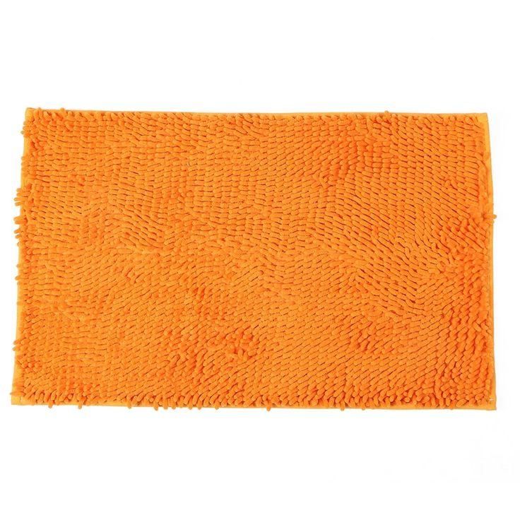 Bedroom Chenille Anti-slip Door Floor Rug Mat Carpet Doormat Orange 45cm x 70cm