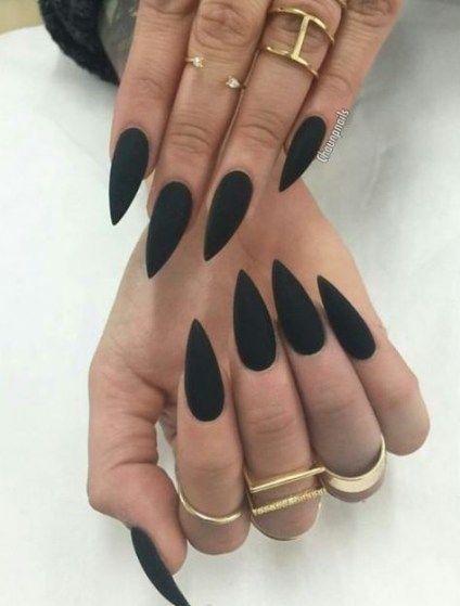 53+ Ideas Nails Acrylic Matte Black Stilettos For 2019 #nails