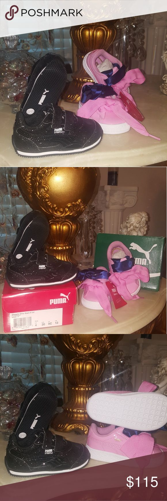NWT Toddler 2 Puma Deal Both shoes are new with tags. Deal comes with 1 black sparkly pair and 1 pink patent satin bow pair. Comes with blue and pink bows in original boxing. Not sold separately! Puma Shoes Sneakers
