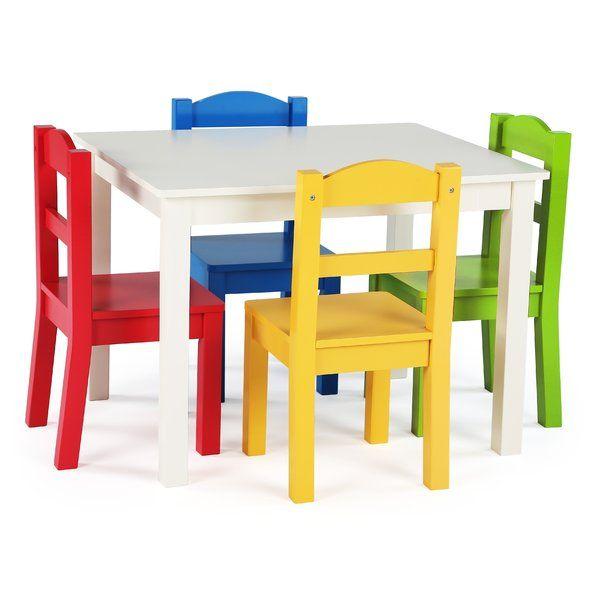 Cet Ensemble De Table En Bois Et De 4 Chaises Pour Enfants Est De Taille Parfaite Pour Que Les Enfants Kids Table And Chairs Table And Chairs Game Room Chairs