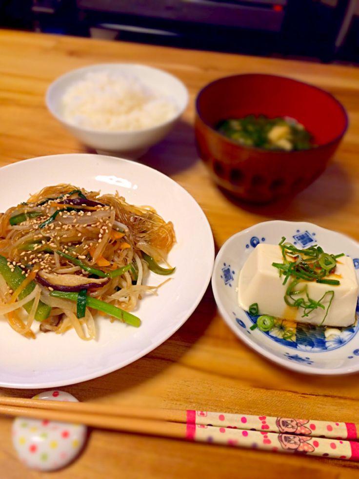 うーろん's dish photo 春雨チャプチェと冷奴 ダイエットだぁ | http://snapdish.co #SnapDish #レシピ