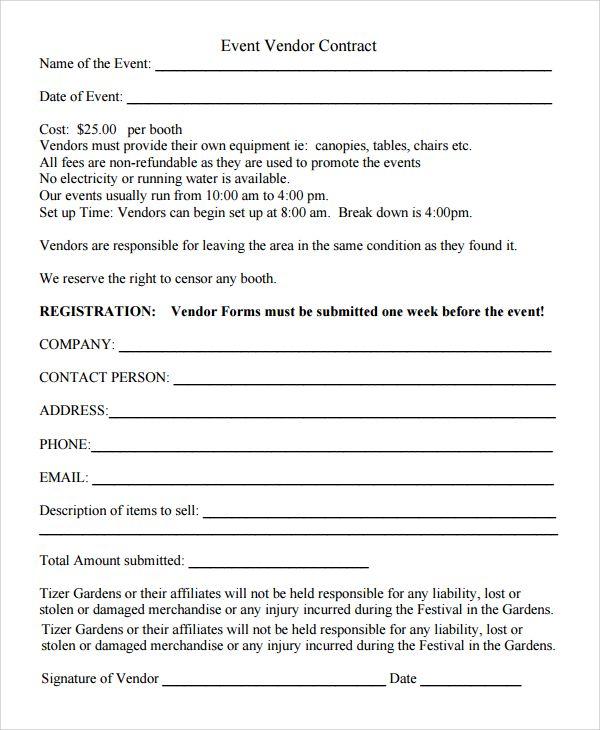 Vendor Application Form Template Registration Form Sample Event