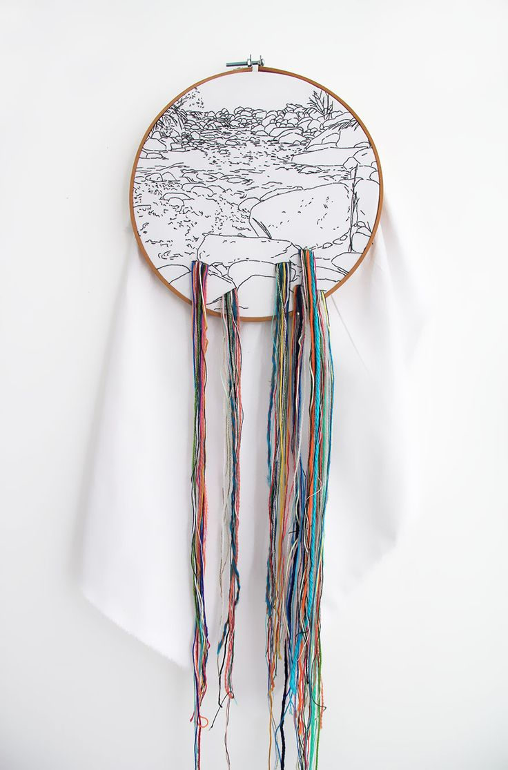 Peruvian embroiderer and artist Ana Teresa Barboza creates embroidered natural landscapes that spill out of of their wooden frames, using threads of various size, color and length to invade our world.