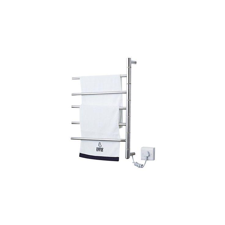 壁掛けタオルウォーマー タオルハンガー+簡易乾燥 ステンレス鋼 180°回転可能 50W