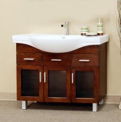 Medium Walnut 39.8-inch Single Bathroom Vanity With Sink