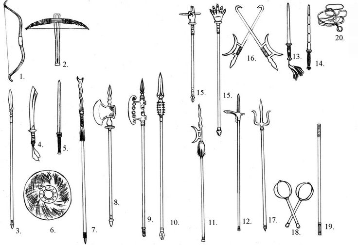 Singapore Chinese Martial Arts Lessons, Chinese Kung Fu. 1. Bow    2. Crossbow    3. Spear    4. Sabre    5. Sword    6. Shield    7. Lance    8. Axe    9. Polearm    10. Great Spear     11. Crescent Halberd    12. Pike Halberd     13. Sword Breaker    14. Mace    15. Claw    16. Hook    17. Fork    18. Cudgel 19. Staff    20. Meteor Hammer