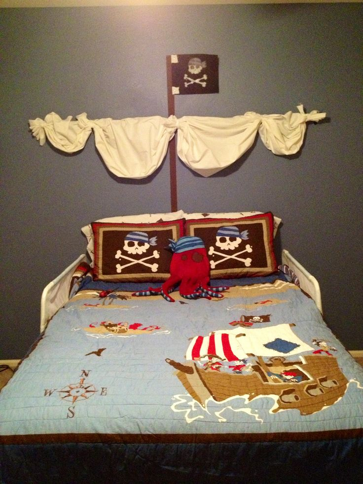 Curtain rod and fabric bunched up with fabric strips (rope would look cool), paint a brown thick line and a felt square as the flag and you've got a cool pirate ship mast for a boys room! Total cost $15! ( I had a curtain rod and the scull decal but you can find them online or paint one)