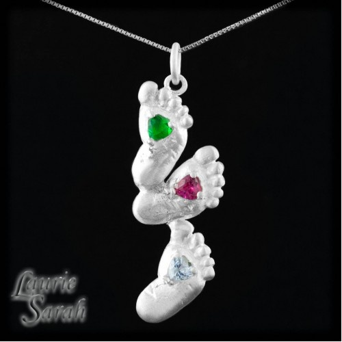 36 best baby birth images on pinterest baby birth newborns and simulated emerald ruby and aquamarine triple baby foot pendant negle Images