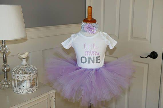 "Little Miss One Tutu Set- ""One"" Diaper shirt, tutu and matching headband"