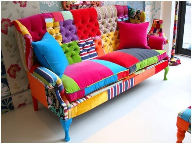 A Cheerful and Vibrant Patchwork Couch