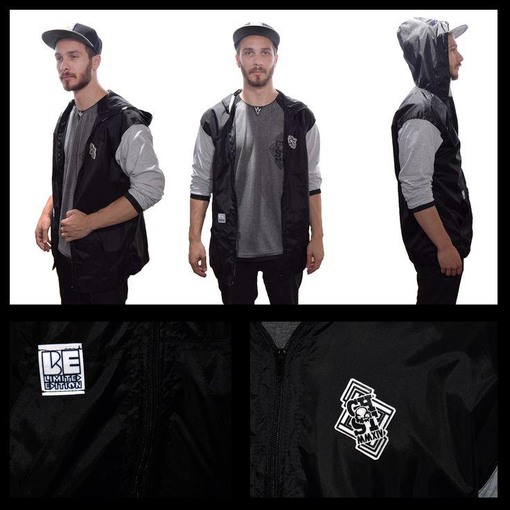 Ghost Custom Clothing windbreaker hoodie and pin