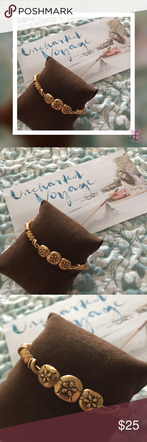 """ALEX AND ANI Sand Dollar Horizontal Expand Bangle EUC!!! A&A Retired Piece! Meaning: BLESSING - LEGEND - TREASURE. Part of the Uncharted Voyage Collection. Crafted in Rafaelian Gold Finish;Expandable from 2"""" to 3.5"""" in diameter. Beautiful for any beach lover! Firm Price. Alex & Ani Jewelry Bracelets"""