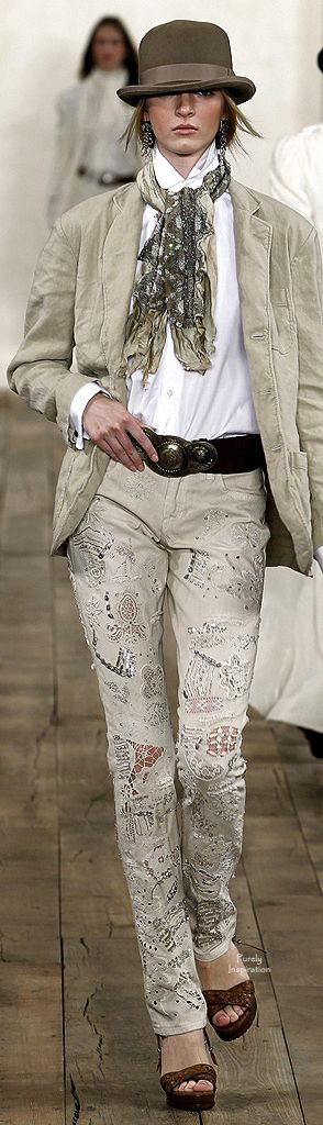 Taupe colored denim jeans with laser cut embellishment. Ralph Lauren
