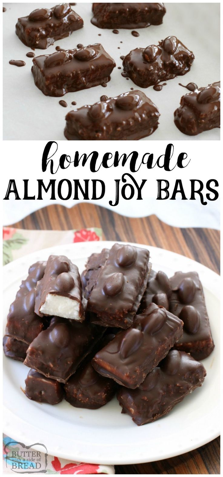 Homemade Almond Joy Bar recipe ~ 5 ingredients and healthier version included! So when you eat 5, you won't feel so bad. They melt in your mouth too- SO delicious! Easy dessert recipe made with chocolate and coconut by Butter With A Side of Bread via @ButterGirls
