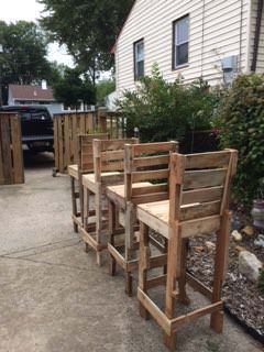 Pallet High Bar Stools Pallet Benches, Pallet Chairs