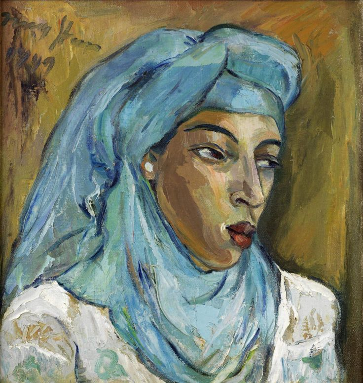Irma Stern (South African painter) 1894 - 1966 Woman with Blue Scarf, 1949 oil on canvas 51 x 48.5 cm. (20 1/16 x 19 1/8 in.) dated 'Irma Stern 1949' (upper left); bears Pretoria Art Museum exhibition label (verso)