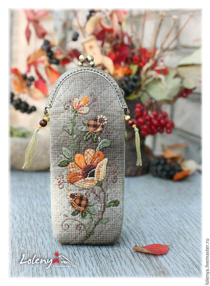 """Купить Футляр для очков """"Осенние цветы"""" - оранжевый, рисунок, ольга абакумова, lolenya, японский пэчворк"""
